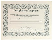 Certificate Baptism: Decorative Border (6 Pack)