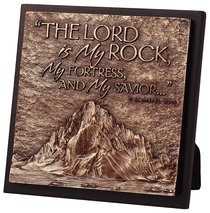 Moments of Faith Sculpture Plaque: Mountain - Lord is My Rock (Square)