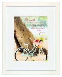 Medium Framed Print: Watercolour Bike, Blessed is She, Luke 1:45