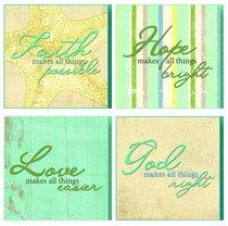 Set of 4 Treasured Wall Plaques: Faith, Hope, Love & God