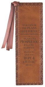 Bookmark: For I Know the Plans I Have For You Brown Lux-Leather