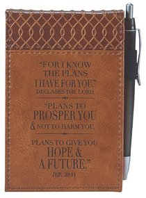 Pocket Notepad With Pen: For I Know the Plans... Brown Luxleather