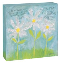 Petals of Praise Canvas Plaque: White Daisies Zeph 3:17
