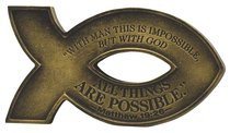 Cast Stone Fish Magnet: Gold Finish, With God All is Possible