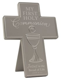 Cross: First Communion: Silver Satin Metal With Raised Symbol