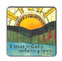 Wooden Magnet With Hanging Tag: I Trust in Gods Unfailing Love: Golden Blossoms