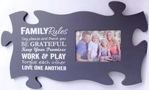 Puzzle Pieces Wall Art: Family Rules (Holds 1 5x7 Photo)