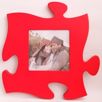 Puzzle Pieces Wall Art: Red (Holds 1 5.5 X 5.5 Photo)