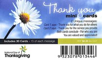 National Day of Thanks Mini Thank You Cards Daisy (30 Pack)