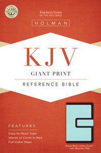 KJV Giant Print Reference Bible With Magnetic Flap, Brown/Blue Leathertouch