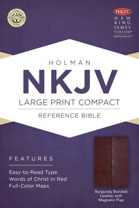 NKJV Large Print Compact Reference Bible With Magnetic Flap Burgundy