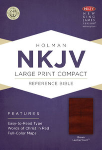 NKJV Large Print Compact Reference Bible Brown Leathertouch With Celtic Cross