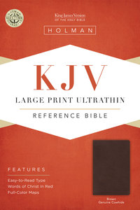KJV Large Print Ultrathin Reference Bible, Brown Genuine Cowhide