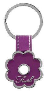 Metal Keyring: Faith, Purple Flower