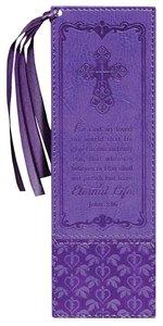 Bookmark Luxleather Tassel: John 3:16, Purple