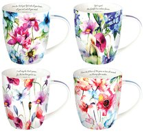 Ceramic Mugs: Seeds of Love (Purple/Flowers) (Set Of 4)