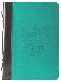 Bible Cover I Can Do All Things Phil. 4:13 Turquoise Large Fashion Debossed Luxleather