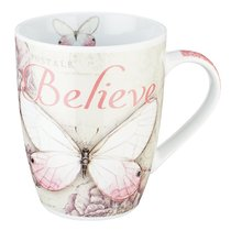 Ceramic Mug: Believe Butterfly Pink