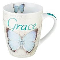 Ceramic Mug: Grace Butterfly Blue