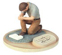 Devoted Sculpture: Praying Man You Will Seek Me and Find Me... (Jeremiah 29:13)