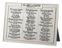 Plaque: Abcs of Faith Cream Quartz (20cm X 15cm)