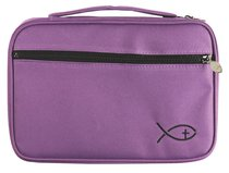 Bible Cover Deluxe With Fish Symbol: Blackberry Large