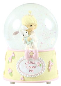 Precious Moments Figurine: Baby Girl With Bunny, Jesus Loves Me Musical Water Globe
