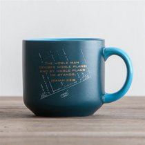 Jumbo Ceramic Mug: Noble Blueprint (Isaiah 32:8 NASB) (Dark Blue)