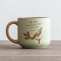 Jumbo Ceramic Mug: Sweet Bird (Psalm 46:10 KJV) (Pale Green/beige)