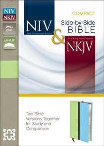 NIV NKJV Side-By-Side Bible Compact Melon Green/Turquoise