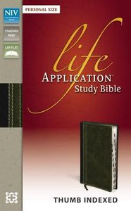 NIV Life Application Study Bible Personal Size Indexed Italian Duo-Tone Bark/Dark Moss (Red Letter Edition)
