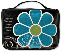 Bible Cover Mod Flower Sparkle Blue Medium