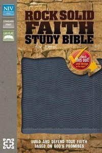 NIV Rock Solid Faith Study Bible For Teens Italian Duo-Tone Slate Blue
