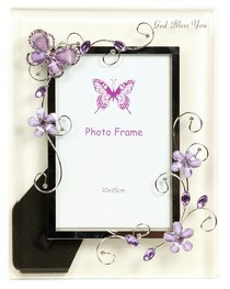 God Bless You Glass Photo Frame: Pinks Flowers & Butterfly With Opaque Frame