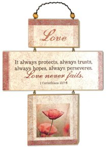 Cross Shaped Three Piece Mdf Wall Plaque: Love, 1 Corinthians 13:7-8 (Crosswords)