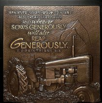 Plaque: Tractor Sow Generously Moments of Faith (15cm X 15cm)