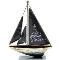 Sailboat Metal: I Can Do All Things.. Philippians 4:13 (Black)
