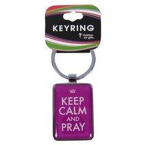Metal Keyring: Keep Calm and Pray Purple