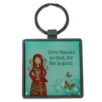 Gratitude Metal Keyring: Give Thanks Square