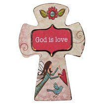 Small Wooden Cross Magnet: God is Love