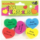Eraser Pack: 5 Heart Shape Erasers, Jesus Loves Me