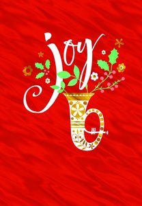Christmas Boxed Cards: Joy (Psalm 29:11 KJV) (Red/trumpet)