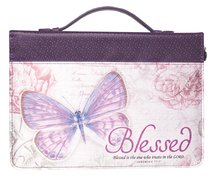 Bible Cover Large: Blessed Butterfly Jer. 17:7 Purple Fashion Trendy Luxleather