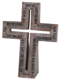 Barn Wood Cross: Small Cast Stone Cross (John 3:16)