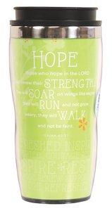 Wavy Stainless Steel Tumbler: Hope, Lime Green (Isaiah 40:31)
