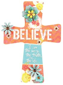 Mdf Wall Cross With Metal Flower & Gem Accents: Believe
