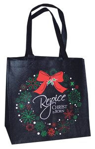 Christmas Eco Tote Bag Glitter: Rejoice Christ is Born