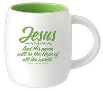 Ceramic Barrel Mug: Jesus (Green)