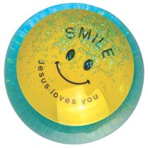 Water Ball Bouncy Ball With Blue Glitter: Jesus Loves You, 6.5cm