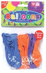 Easter Balloons Pack of 20: He is Risen, He is Alive, He is Lord